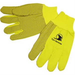 Fluorescent Yellow - Double Palm Canvas Work Gloves With Black Pvc Dots On Palm