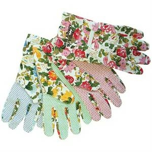 Ladies Assorted Color Floral Canvas Gloves