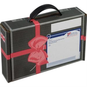 "Addition Of Spot Mount Label - B-flute Corrugated Box With Handle, 8 3/4"" X 5 3/4"" X 2"""
