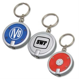 Targetline - Round Key Tag Light With Silver Trim And White Led Light