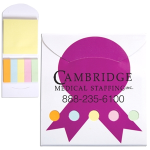Pink Ribbon Theme Pocket Memo Book Includes Note Pad And 5 Pastel Color Flags