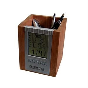 Bamboo Digital Desk Caddy With Clock, Features, Day, Date, Time And Temperature