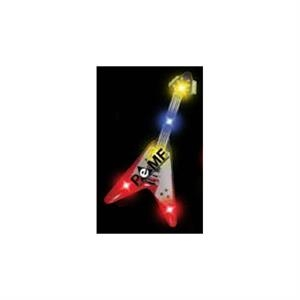 Guitar Stock Shape Flashing Led Button With Tie-tac Butterfly Clip Backing