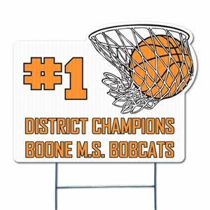Basketball Hoop - Die Cut Yard Sign, Weather Resistant, 4mm Corrugated Vinyl