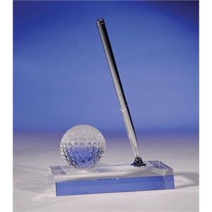 Golf Ball Pen Stand - Crystal Desk Item By Crystal World