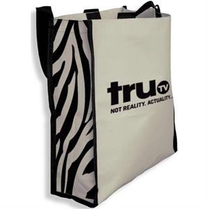 Zebra - Tote Bag With Contrasting Black Webbing Straps And Bold Zebra Print On Side Gussets