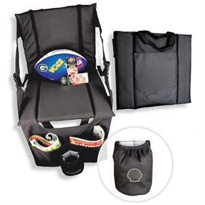 Stadium Seat With Front Organizer And Insulated Beverage Pocket
