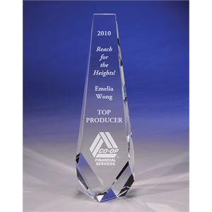 "Progress - A ""progress"" Crystal Award By Crystal World. 10"" Tall. New For 2011!"