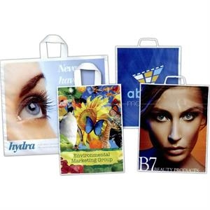 "12"" X 14"" - Full Color, Low Minimum Two Side Plastic Bag With Molded Handle And 3"" Gusset"