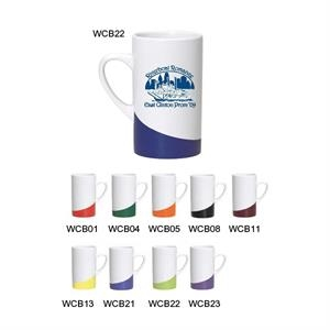 Swoosh - Ocean - Ceramic White Mug With Colored Stripe On Bottom, 16 Oz