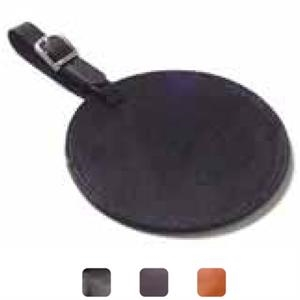 Circle - Leather Luggage Tag With Privacy Flap And Easy Insert Slot For Business Cards