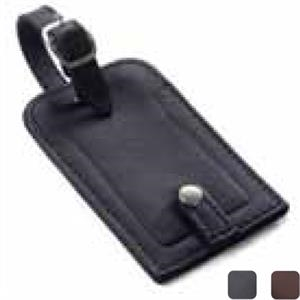 Leather Snap Luggage Tag With Clear Plastic Id Holder And Adjustable Loop