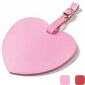 Heart Shaped, Colored Leather Oversized Luggage Tag With Large Decorating Area