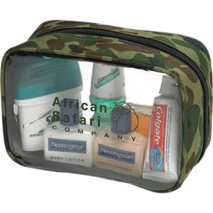 Clear Pvc And Nylon Bag With Camouflage Print