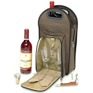 Picnic Wine Cooler Set For 2 Made With Dual Tone 1200 Denier Polyester And Pvc