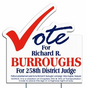Vote - Die Cut Yard Sign, Weather Resistant, 4mm Corrugated Vinyl