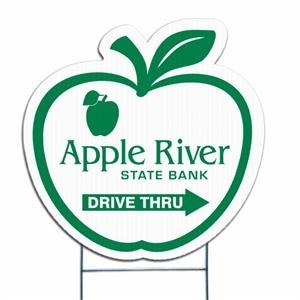Apple - Die Cut Yard Sign, Weather Resistant, 4mm Corrugated Vinyl