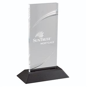 "Designer Grooved Acrylic Award With A 3/8"" Thick Base. W 3"" X 7"""