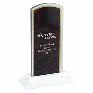 "Marbleized Arch W 3"" X 7"" Award With A 3/8"" Thick Base"