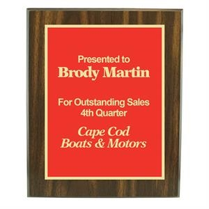 "Walnut Finish Plaque Award, W 8"" X 10"" With Plate"