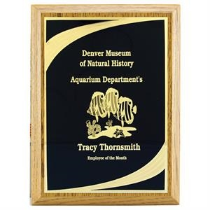 "Classic W 6"" X 8"" Oak Finish Plaque Award With Plate"