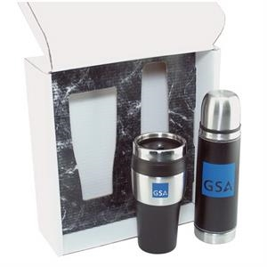 Thermos And Tumbler Gift Set With 16 Oz. Thermos And 16 Oz. Travel Tumbler