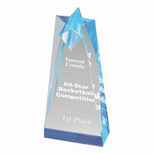 "3 1/2"" X 10"" Sculpted Star, Acrylic Award, 2"" Thick"