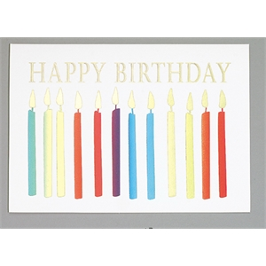Happy Birthday With Candles - Everyday Birthday Greeting Card With Stock Sentiment Inside