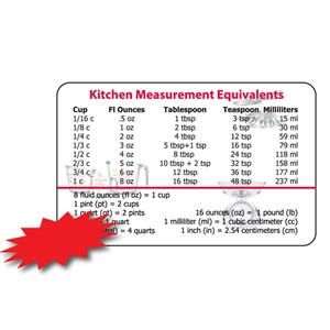 Laminated Weight And Measures Card, .015 Material Thickness