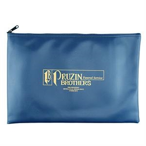 "Zippered W 16"" X 10 1/2"" Tex-o-leather Vinyl Portfolio With Seamed Bottom"