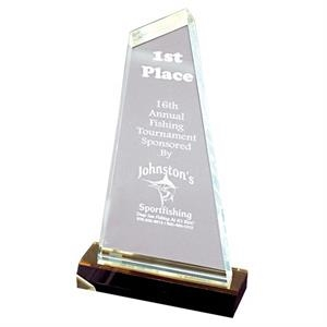 "Optima - Clear Award With Black Base With Gold Mirror, W 5"" X 10"""