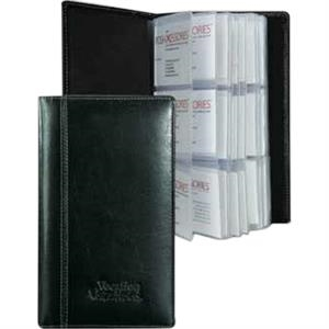 Atlantis - Bond Cowhide Leather 3-row Business Card Holder Case . Holds Up To 72 Bus