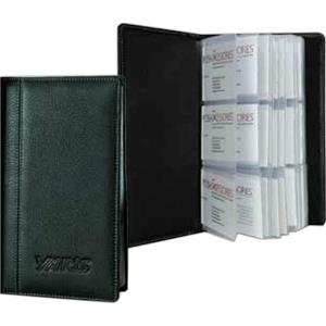 Signature - Full Grain Leather 3-row Business Card Holder Case. Hold 72 Business Cards