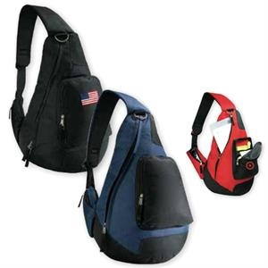 Forerunner - Black - Sling Shoulder Backpack With Side Loading Zippered Main Compartment