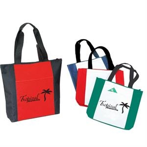 Two-tone Zippered Tote Bags With Zippered Closure And Large 22 Inch Carrying Handles