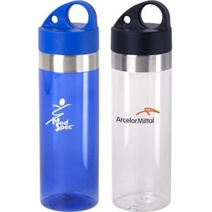 Aqua - 24 Oz Water Bottle With Stainless Steel Accent