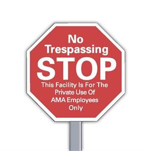 "9"" X 9"" Stop Sign Reflective Security Yard Sign Made Of White Polyethylene"