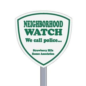 "9"" X 9"" Shield Reflective Security Yard Sign Made Of White Polyethylene"