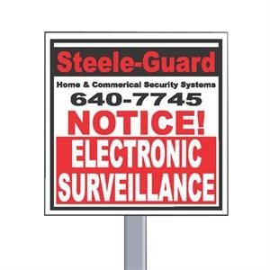 "9"" X 9"" Square Reflective Security Yard Sign Made Of White Polyethylene"