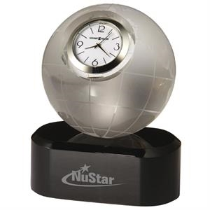 Axis - Etched Globe With Clock On Base
