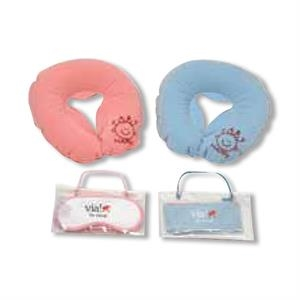 Soft Flocked Inflatable Pillow With Matching Satin Eyemask, Blank, Closeout