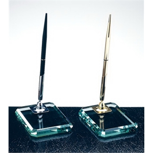 Jade glass pen set - deluxe beveled