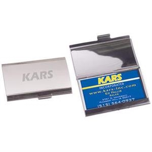 Two-tone Mirror Finished Aluminum Horizontal Business Card Holder