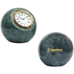 Green Hualien Marble Ball Desk Paperweight With Quartz Analog Clock