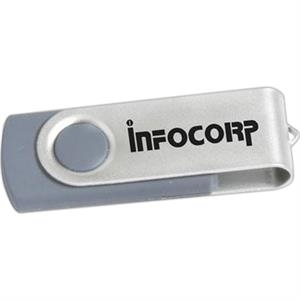 128mb - Gray And Silver Finish Usb Flash Drive With Self Storing Cap