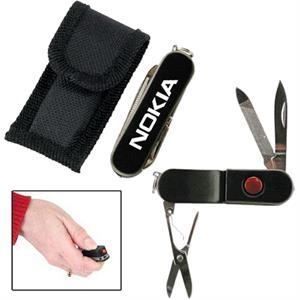 Flashlight knife with belt sheath
