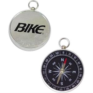 "Aluminum Compass With Black Dial And Glass Window, 1 3/4"" Diameter"