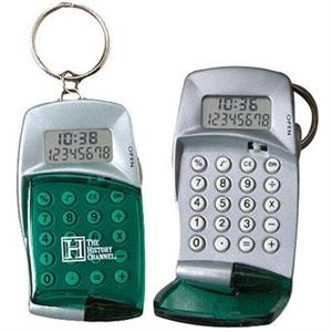 Calculator With Clock Keyring And Transparent Flip Top