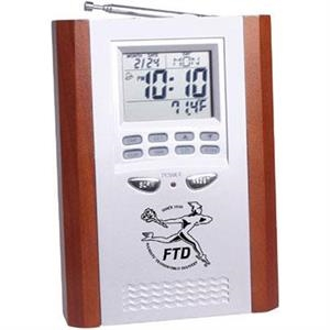 Wood Trimmed Radio Desk Clock With Temperature