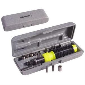 Compact And Economical 15-piece Ratchet/screwdriver Tool Set In Gray Molded Case
